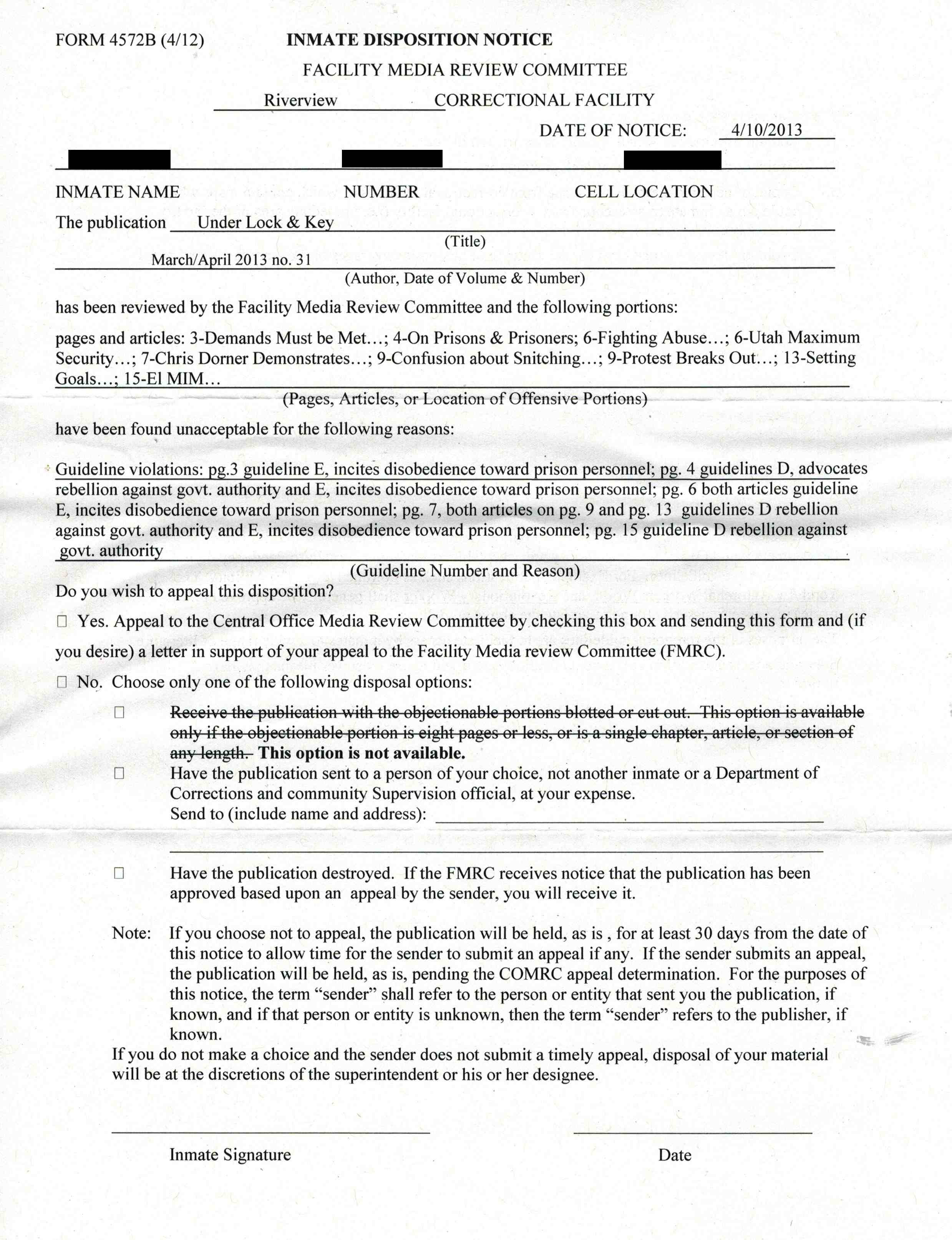 Searchable Database of Censorship in United States Prisons