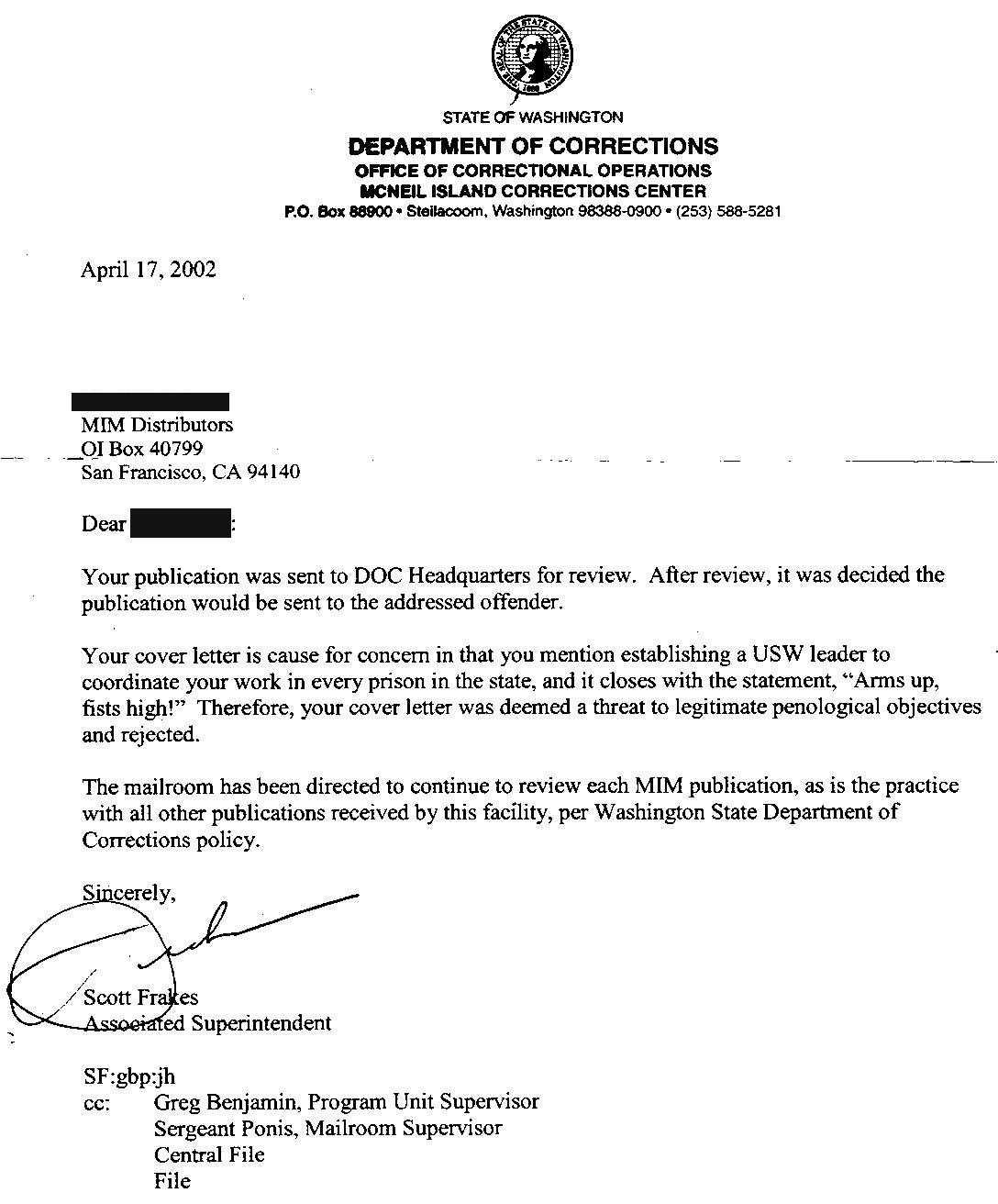 ... 2002 Superintendent Says Cover Letter Denied Entry ...