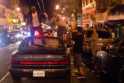 SF Giants fans stomp out car