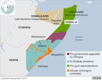 Somalia governance 2016 map