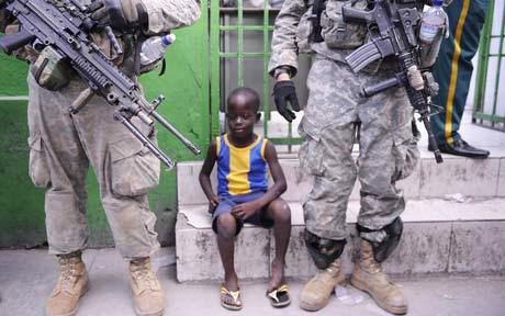 U.S. Troops providing aid at Haitian hospital